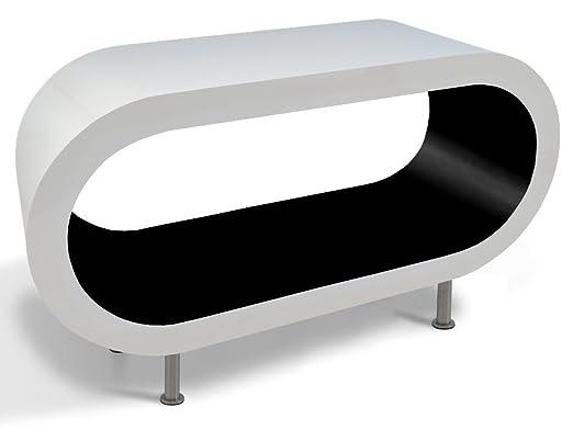 Zespoke Design Blanco y Negro Brillo Aro Café Soporte de Mesa/TV ...