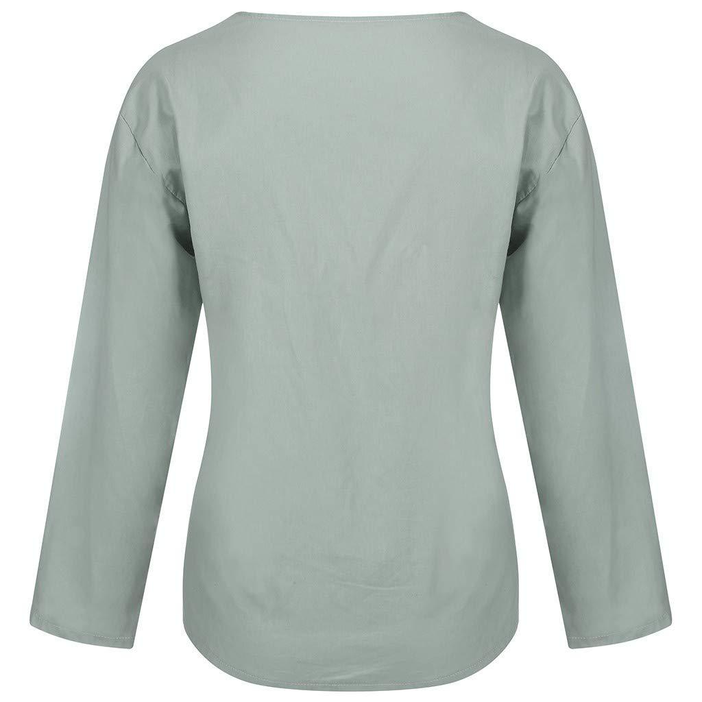 Tyoby Damen Baumwolle Hanf Lang/ärmliges Hemd Mode V-Ausschnitt Falten Pullover Gro/ße Gr/ö/ße locker