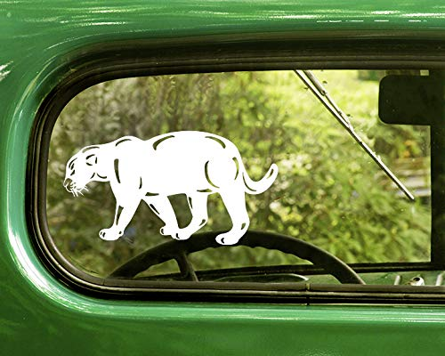 2 Jaguar Cougar Wild Cat Decal Stickers White for Window Car Truck Jeep Laptop Bumper ()