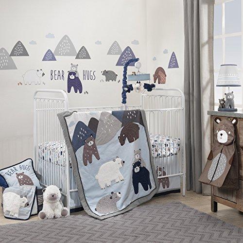 Lambs & Ivy Signature Montana 4-Piece Crib Bedding Set - Mountain/Bear Blue/Gray