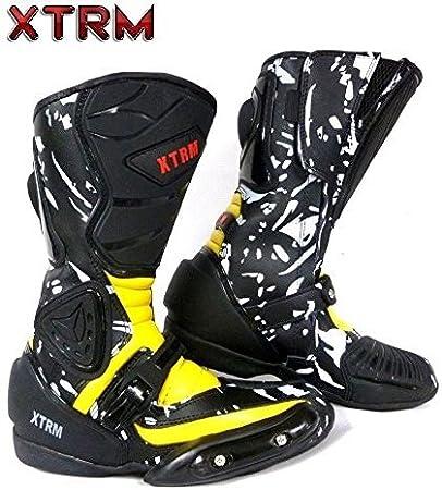 , Noir//Bleu Moto Enfants Bottes XTRM Aventure Bottes denfants Moto sur la Route Armure Quad Chaussures de Tourisme Sportif UK 13 EU 34