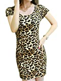 Joeoy Women's Leopard Print Short Sleeve Bodycon Mini Dress