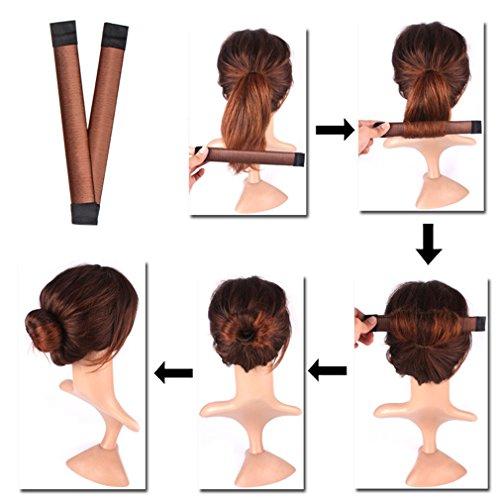 8pcs Bun Maker Hair Bun Shapers Women Girls Donut Hair Bun Maker Magic DIY Curler Roller Hairstyle Tools 8pcs Fine Invisible Hairnet