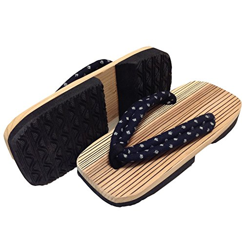 Natural Dot Wood of Japan in Rubber Made Made Geta Hida Sole Blue Sandals Cedar Edoten Navy Polka 6vqz8w