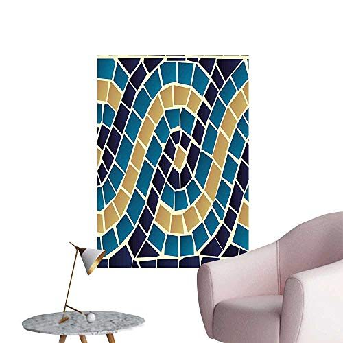 Wall Decoration Wall Stickers Geometric Design Mosaic Like Squared Detailed Antique Image Dark Blue White and Brown Print Artwork,20