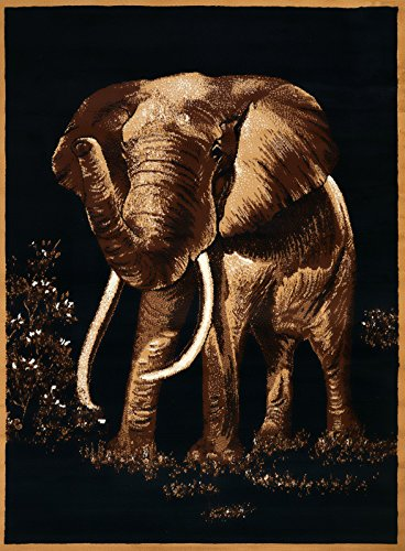 United Weavers 910-04650 LEGENDS ELEPHANT Area Rug, Black Africa Elephant