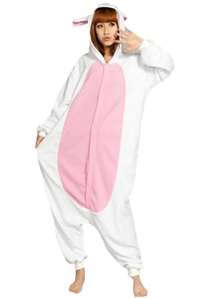 Fandecie Pijama Blanco Conejo, Onesie Modelo Animales para adulto entre 1,60 y 1,75 m Kugurumi Unisex.: Amazon.es: Ropa y accesorios