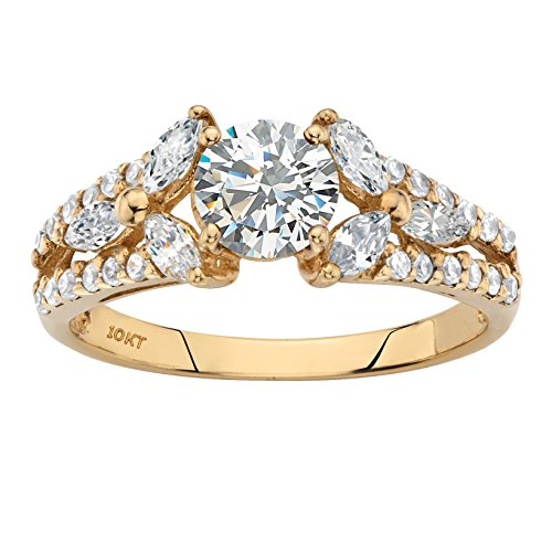 Solid 10k Yellow Gold Round White Cubic Zirconia Floral Inspired Engagement Ring Size -