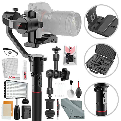 Moza AirCross 3-Axis Gimbal for Mirrorless Cameras with Camera Cleaning Kit & LED Video Light Platinum Accessory Bundle