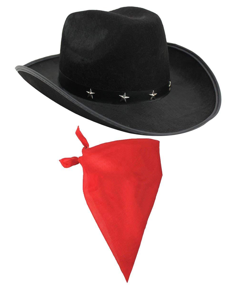 5ce9bdf50 COWBOY FANCY DRESS ACCESSORY SET COSTUME BLACK STAR STUDDED COWBOY HAT &  COLOURED BLACK PAISLEY BANDANA WILD WEST WESTERN SHERIFF BANDANNA ...