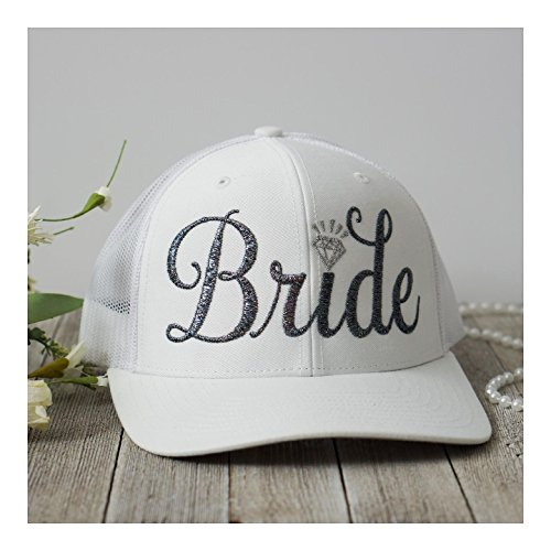 Bachelorette Party Embroidered Bride Tribe Structured Trucker Snap Back Hat (Solid White Hat, Cursive Style A; Dark Silver Metallic Bride)