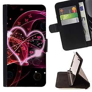 BullDog Case - FOR/Apple Iphone 4 / 4S / - / Love Pink /- Monedero de cuero de la PU Llevar cubierta de la caja con el ID Credit Card Slots Flip funda de cuer