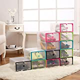 ZJKC Thickened Plastic Transparent Shoebox Colour Drawer Box Folding Storage Box Plastic Stackable Shoe Box Case Home Storage Container Office Organizer