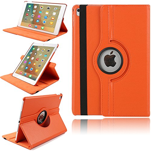 (TechCode iPad Case for iPad Air 9.7 360 Degrees Rotating Magnetic PU Leather with Stand Smart Case Cover for Apple iPad Air 1st Generation Tablet(Orange))