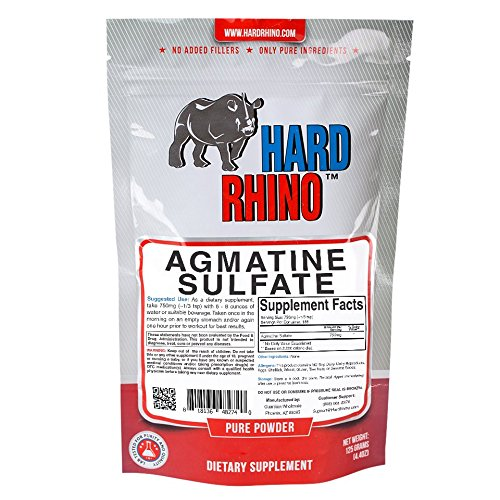 Hard Rhino Agmatine Sulfate Powder, 250 Grams (8.8 Oz), Unflavored, Lab-Tested, Scoop Included
