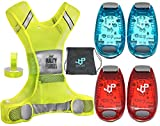 LED Safety Light and Reflective Vest Sets (4-Pack with Clip and 4 BONUSES), The Perfect Running Light, suitable for Jogging, Cycling, Biking, Dog Walking, Strobe Light, Waterproof, By JQP Sports(L/XL)