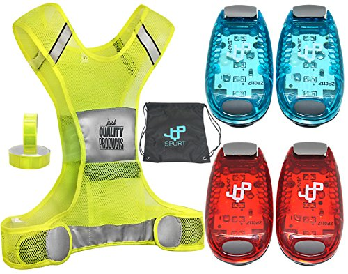 LED Safety Light and Reflective Vest Sets (4-Pack with Clip and 4 BONUSES), The Perfect Running Light, suitable for Jogging, Cycling, Biking, Dog Walking, Strobe Light, Waterproof, By JQP Sports(L/XL) (Led Light Vest)