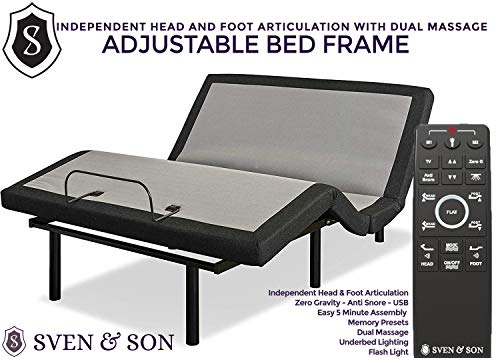 Sven & Son King Adjustable Bed Frame Base, 5 Minute Assembly, USB Ports, Zero Gravity, Anti Snoring Interactive Dual Massage, Wireless, Classic (King)