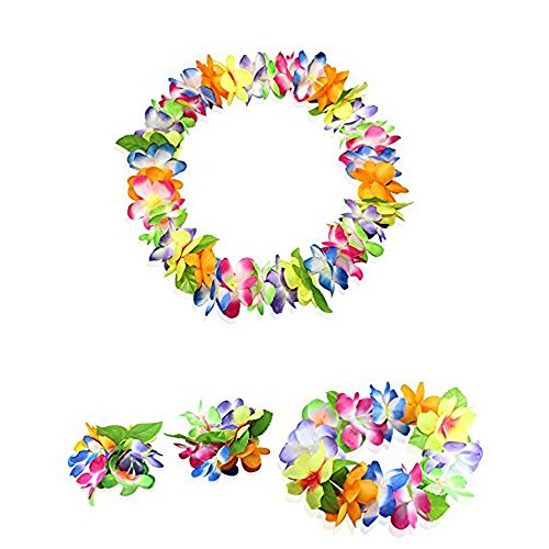 LoveInUSA Hawaiian leis,4pcs Colour Hawaiian party decorations Hawaiian flowers luau flowers for Party Favor Hula Hawaiian Dance Kids  Adults Luau Party Decorations and Party Supplies]()