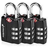 Luggage Lock, Fosmon (3 Pack) TSA Approved Open Alert Indicator 3 Digit Combination Lock with Alloy Body for Travel Bag, Suit Case, Lockers, Gym, Bike Lock