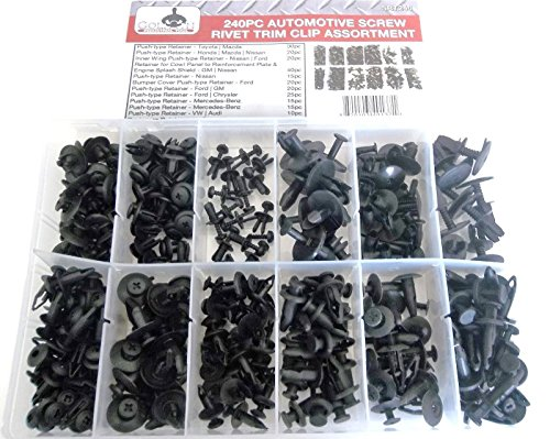 Cowl Rivet (240pc Automotive Screw Rivet Trim Clip Panel Body Bumper Cowl Assortment SRT240)