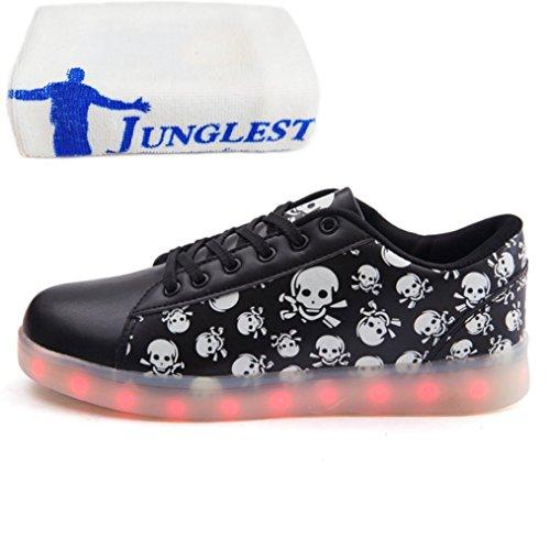 (Present:kleines Handtuch)JUNGLEST® Schwarz Schädel 7 Farbe Unisex LED-Beleuchtung Blink Schwarz