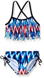 Kanu Surf Big Girls Kelly Fringe Bikini Swimsuit, Red/White/Blue, 10