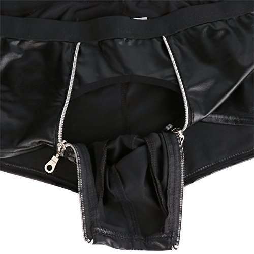 1a8c9140d5 YiZYiF Men's Wetlook Leather Underwear Double Zipper Pouch Trunks Boxer  Briefs Black Medium(Waistline 31.0