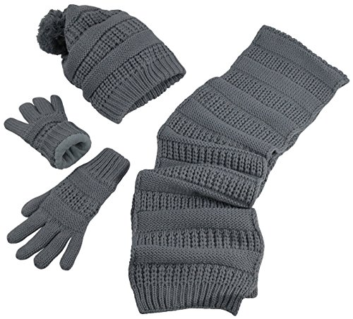 N'Ice Caps Women's Solid Cable Knit Hat/Scarf/Gloves Accessory Set (One Size, Grey) (Ice Women Hat For)