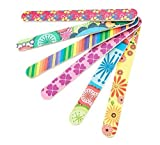 Set of 10 Colorful Floral Print Nail Files Double Sided Durable Nail Art Manicure Pedicure Emery Board Manicure Sticks Random Color