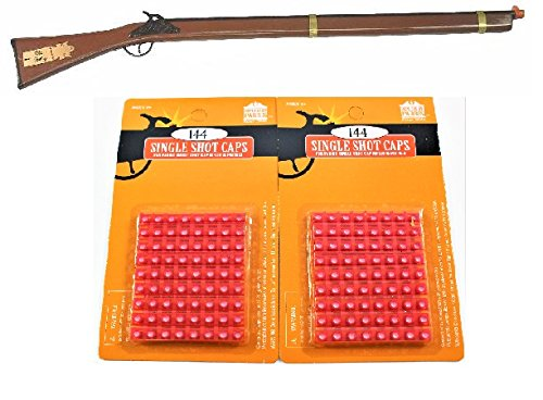Davy Crockett Old Betsy Wood and Steel Frontier Cap Gun with 2 Pack Single Shot Caps