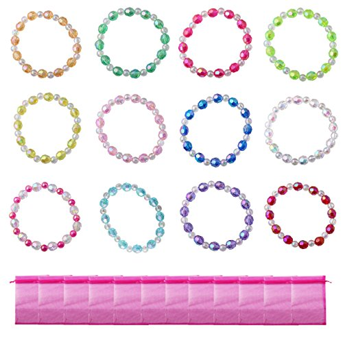 (Candygirl Assorted 12pcs Plastic Iridescent Girls Bead Bracelet Kits for Girls Party Favors)