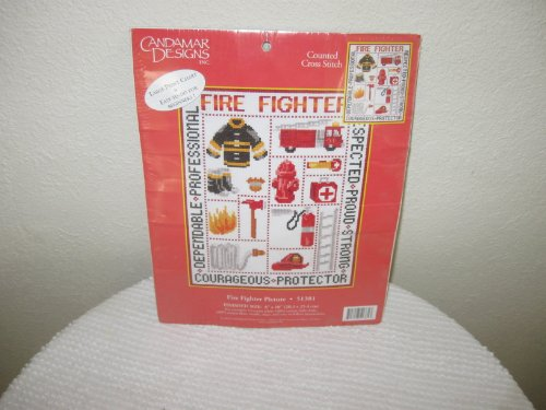 Fire Fighter Picture Cross Stitch by Candamar Designs