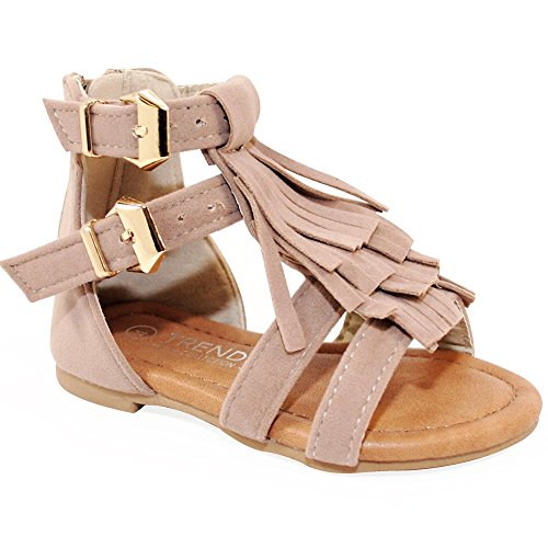 Baby Girls Strappy Buckled Fringe Gladiator Flat Sandals (9 M US Toddler, Taupe)