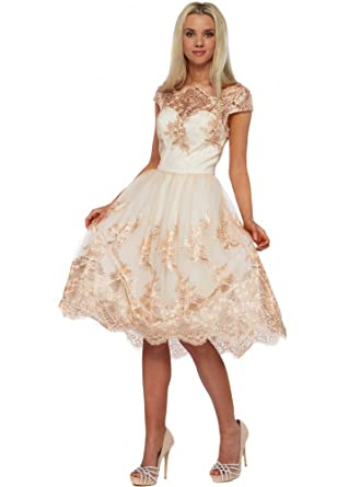 Chi Chi Belle Rose Gold Metallic Embroidered Prom Dress UK 16 Cream/Ivory