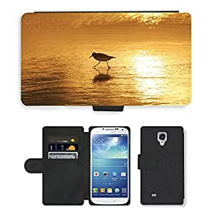 CARD POCKET BOOK CASE PU LEATHER CASE // M00421612 Sanderling pájaro que vadea Water Beach // Samsung Galaxy S4 S IV SIV i9500