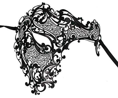 Luxury Mask Men's Signature Phantom Of The Opera Half Face Venetian Laser Cut Masquerade Mask Metal, Black/Green Stones, One Size ()