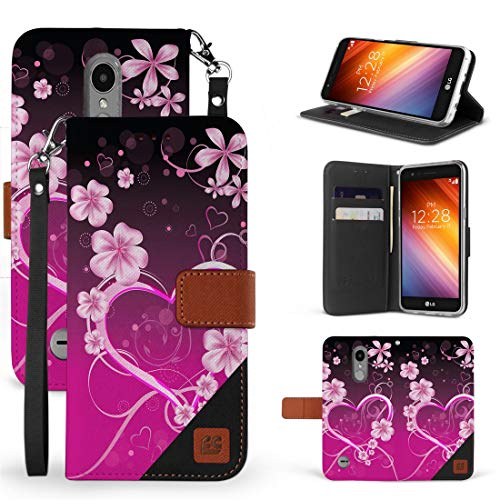Beyond Cell Synthetic Leather Wallet Case (Love Flowers) Compatible with LG Aristo 3, Tribute Empire, Rebel 4, Phoenix 4, Aristo 2 Plus, Zone 4 with Tempered Glass Screen Protector and Atom Cloth
