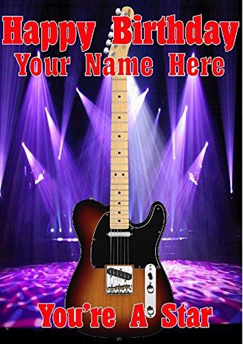 Sunburst guitarra Telecaster cptmi31 feliz cumpleaños A5 Tarjeta de felicitación personalizadas publicado por nosotros Regalos para
