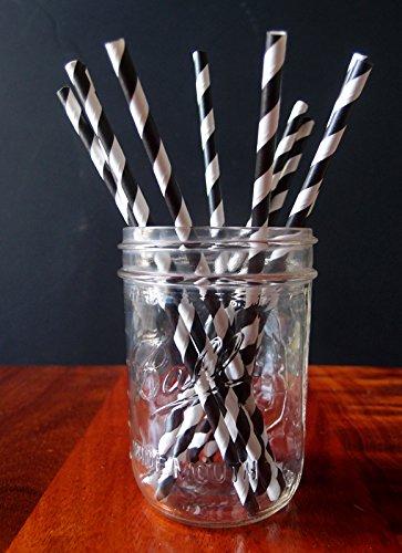 PaperLanternStore.com Black Striped Patterned Party Paper Straws (12 Pack)