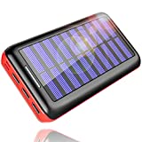Solar Charger, KEDRON 24000mAh Portable Charger Power Bank with Dual Input Port and 3 USB Output External Battery Pack Compatible Cellphone,Android Phones,Tablet,and Other Devices (Red)