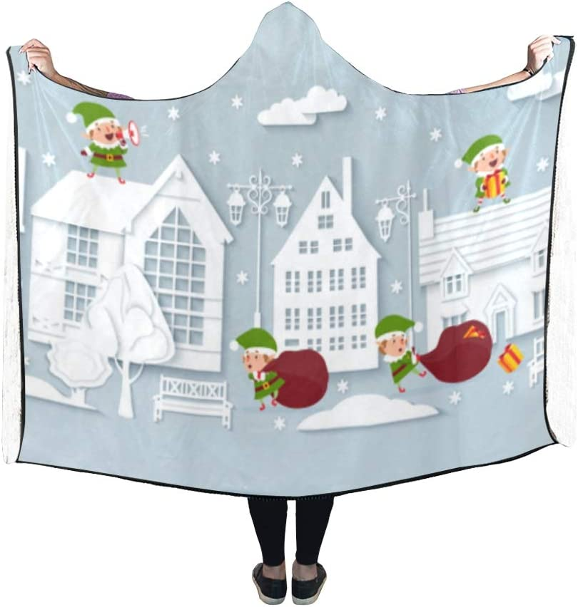 XINGCHENSS Hooded Blanket Trees Street Street View Hand Drawn Secluded Cartoon Blanket 60x50 Inch Comfotable Hooded Throw Wrap