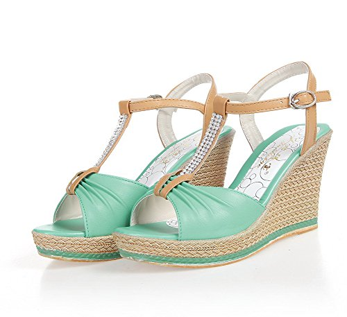 VogueZone009 Womens Open Toe High Heel Wedge Platform PU Solid Sandals with T-strap and Glass Diamond Green gRUCo4mbe