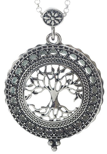 Tree of Life 4x Magnifier Magnifying Glass Sliding Top Magnet Pendant Necklace, 30""