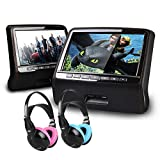 XTRONS Black Twin 2x9'' HD Active Car Pillow Headrest Monitor Portable DVD/USB Player Game HDMI&Children Headphones Included(Blue&Pink)