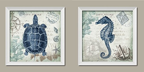 Nautical Seaside Blue Carte Postale Seahorse and Turtle Set by Tre Sorelle Studios; Two 12x12in White Framed Prints