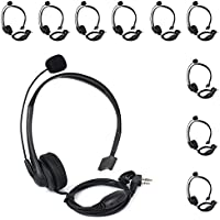KENMAX 2 Pin Noise Cancelling Overhead Earpiece Headset with Boom Mic for Two Way Radio Kenwood Baofeng Wouxun Linton Puxing Weierwei Quansheng HYT TYT (1 PACK)