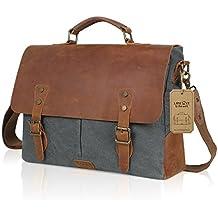 Lifewit 14-15.6 inch Laptop Messenger Bag Vintage Genuine Leather Canvas Briefcase College Computer Satchel