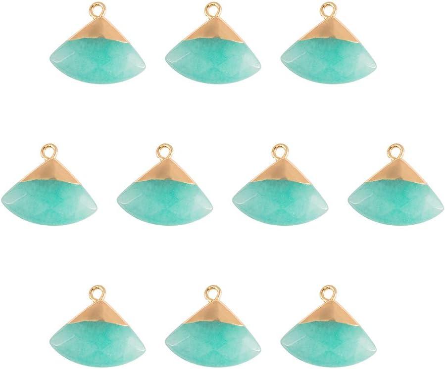 NBEADS Colgantes de Jade Naturales, 10 Pieza de Colgantes de Piedra de Triángulo de Jade Aguamarina con Hallazgos Dorados para Hacer Joyas de Bricolaje, Agujero: 1.8 mm