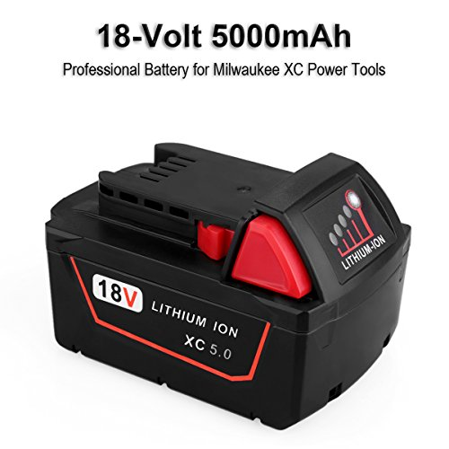 Biswaye 2 Pack 18V 5.0Ah Replacement Battery for Milwaukee 18V High Capacity Red Lithium Cordless Power Tools Battery M18 XC M18B 48-11-1820 48-11-1850 48-11-1828 by Biswaye (Image #1)